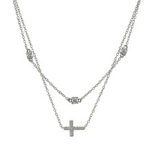 Sterling Silver Cubic Zirconia Sideways Cross Layered Choker Necklace - $79.86