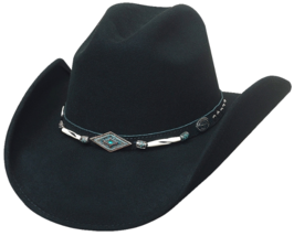 Bullhide Mojave Wool Cowgirl Hat Silver And Turquoise Conchos Barrel Beads Black - $80.00