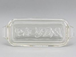 Vintage Hazel Atlas Clear Glass Ivy Leaf Pattern 1/4 Pound Butter Dish No Damage image 3