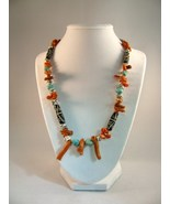 Bone, Coral and Turquoise Beads with Sterling Silver Necklace RKS437 - $85.00