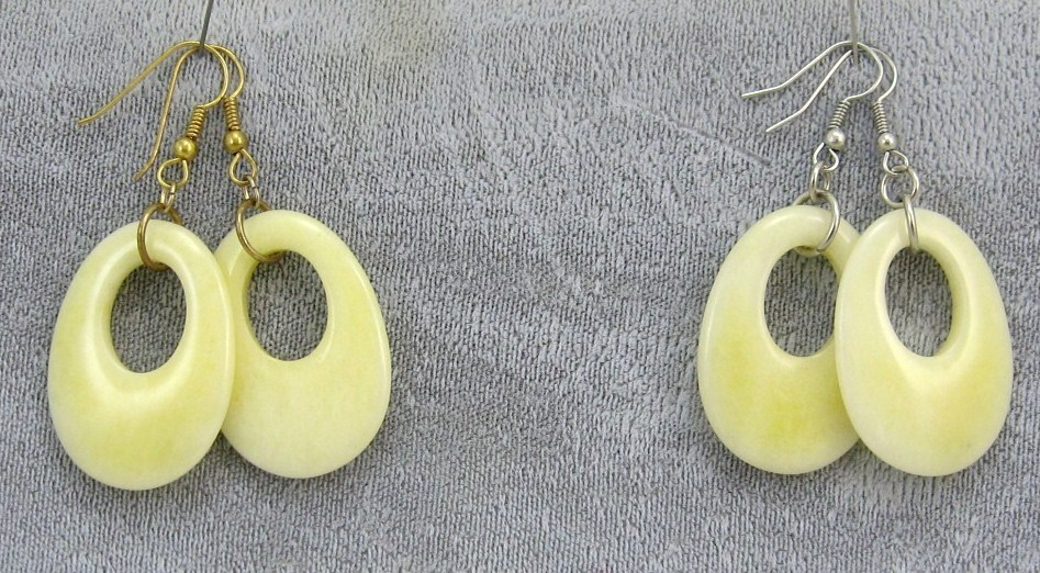 handcraft gemstone yellow jade silver/gold dangle/clip back earring