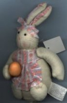 STUFFED BUNNY RABBIT WITH ORANGE EGG - $8.00