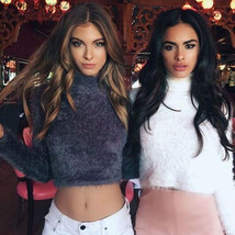 Women Pullovers Thick Elastic Sweater Turtleneck  Navel Exposed Solid Sw... - $15.99