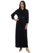 BROOKE SHIELDS 2X Timeless Petite Knit Maxi Dress with Belt Black P2X - $37.11