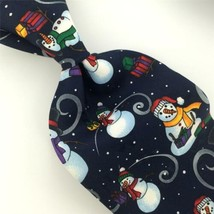 Hallmark Ties Navy Snow Man Gifts Micro Dot Christmas Men Necktie Tie X6-292 New - $15.83