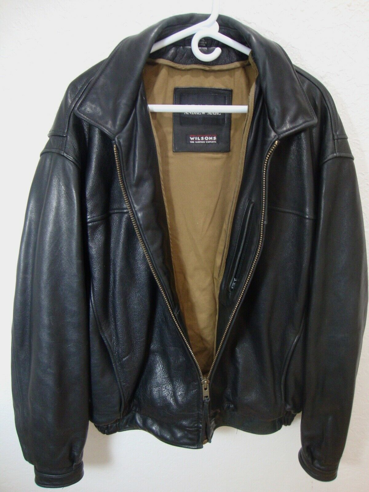 ANDREW MARC Black Leather Bomber Jacket Distressed Lined Zip Up Motorcycle XL image 3