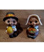 HALLMARK Pilgrim Squirrels Salt and Pepper Shakers Set Thanksgiving Chip... - $19.95