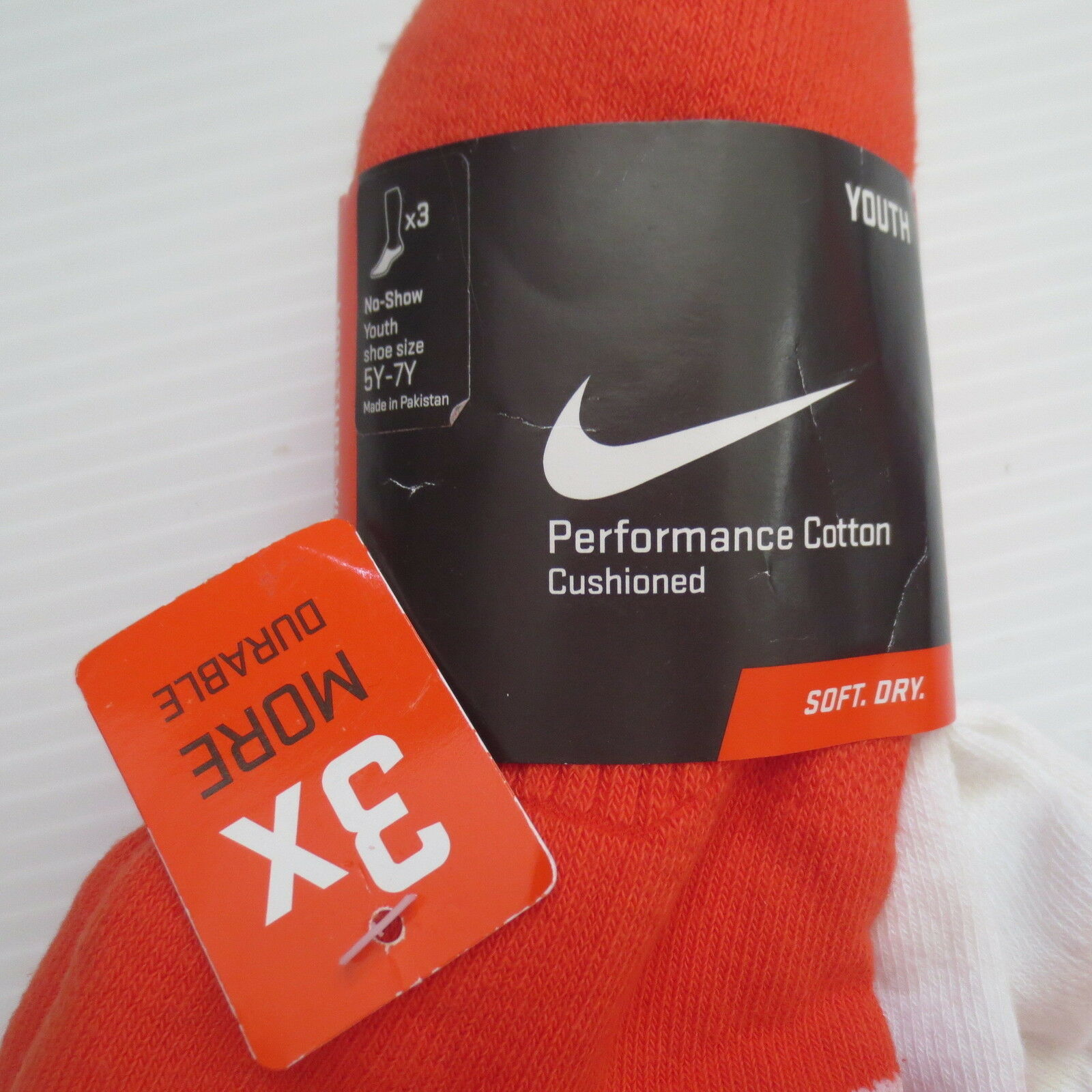 Nike Youth Cotton Cushioned Socks 3 Packs - SX4721 - Size (5Y-7Y) - NEW