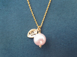 Personlaized, Letter, Initial, Pink, Pearl, Gold, Silver, Necklace - $15.80