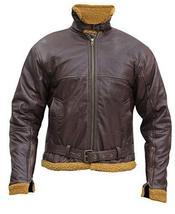 Men's B3 Sheepskin Aviator Flight Fur Shearling Brown Bomber Leather Jacket image 2