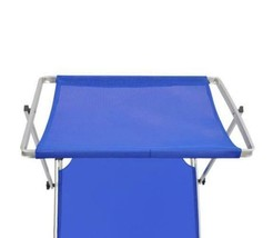 Sun Lounger With Canopy Adjustable Backrest Garden Seat Beach Lounge Cha... - $126.26