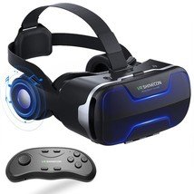 VR Headset with Remote Controller Stereo Headphones for iPhone and Android - $51.09
