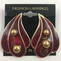 Vintage Red Enamel Earrings Glitter Gold Tone Raindrop Shaped Pierced Dr... - $7.87