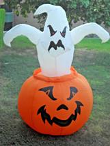 Halloween Gemmy 4 FT Lighted Ghost on Pumpkin Airblown Inflatable  - $49.99