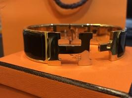 Authentic HERMES Clic Clac Wide Bracelet H BLACK GOLD HW SZ M Bangle  image 7
