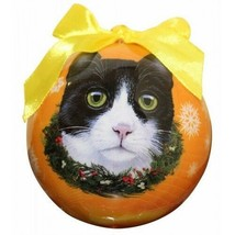 Black White Cat Christmas Ornament Shatter Proof Ball Yellow Snowflakes ... - $9.89
