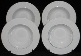 Set (4) Crate & Barrel EPOCH BLUE LINE PATTERN Rimmed Soup Bowls KATHLEE... - $31.67