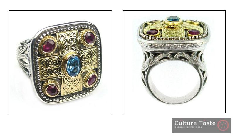 Gerochristo 2440 -  Gold, Silver,Topaz & Rubies - Medieval-Byzantine Ring /s 7