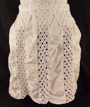 Half Apron Snow White Crocheted Panels Cotton Hand Made No Pockets Vtg - $9.89