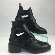 Moda Park Women Booties Buckle Cut Out Block Heel Moto Style Black Size ... - $28.44