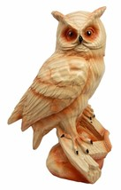 Rustic Rainforest Haunted Great Horned Owl Decorative Faux Wood Figurine... - $21.99