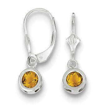 Primary image for Lex & Lu Sterling Silver 5mm Round Citrine Leverback Earrings