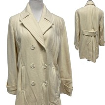 Relativity Wool Blend Button Down Ivory Winter Pea Coat Women's Size Large - $59.40