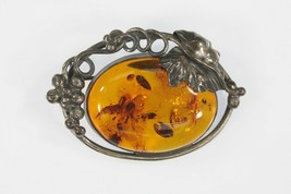Vintage Sterling Silver Amber and Grape & Leave Brooch Pin 15g  - $127.71