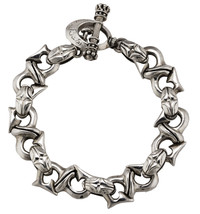 "Men's Sterling Silver King Baby Studio Toggle Clasp 9.50"" Link Bracelet ... - $629.99"