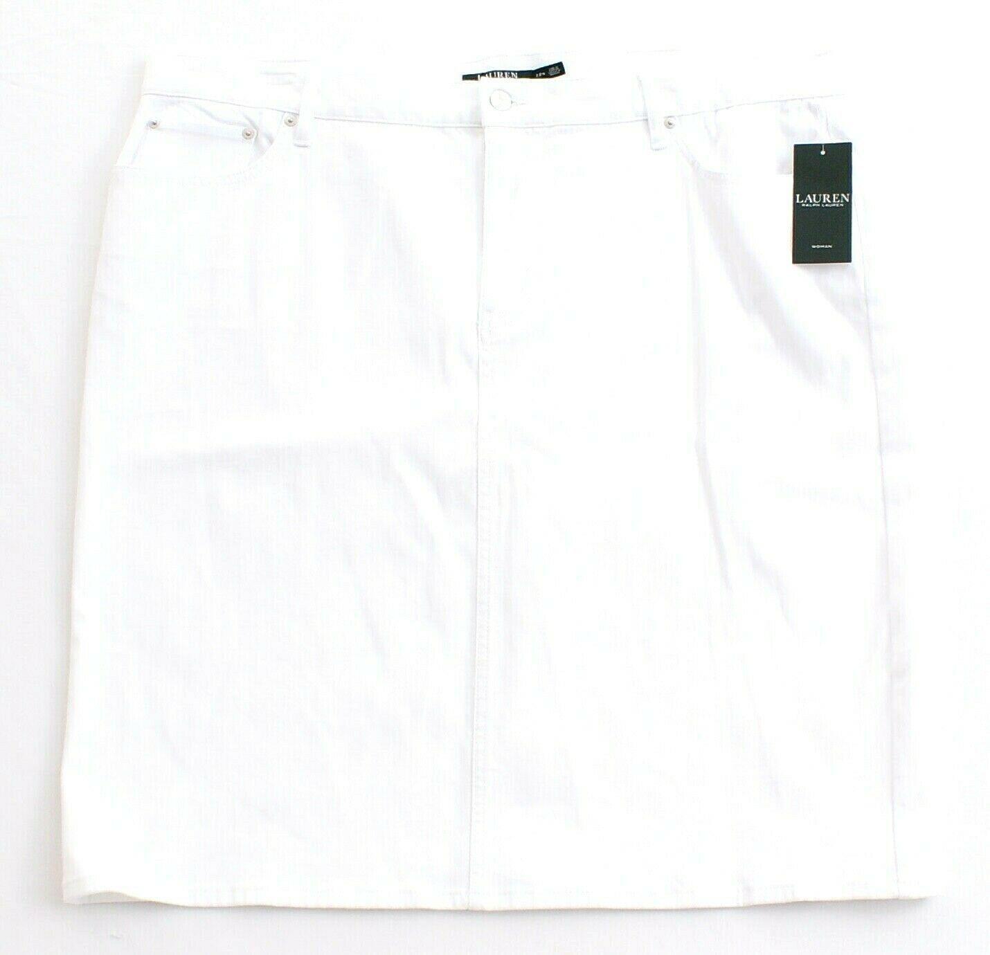 Lauren Ralph Lauren White Stretch Denim Pencil Skirt Women's NWT - $74.99