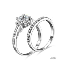 1 ct Round Cut Side Stone 925 Sterling Silver Cubic Zirconia Engagement Ring Set - $51.28