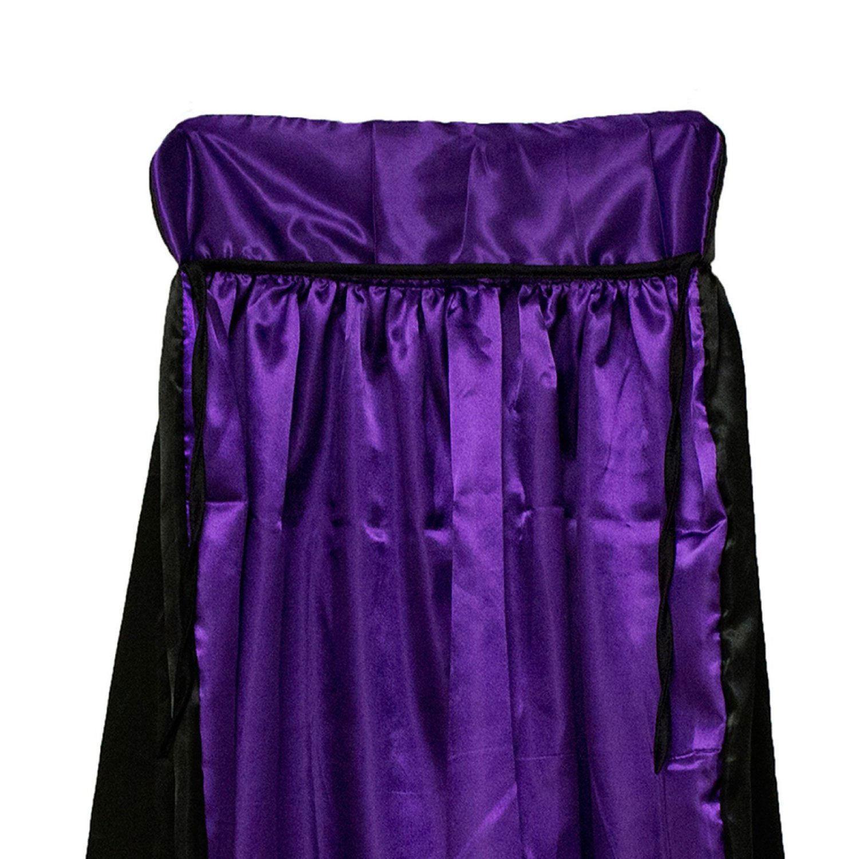 Black & Purple Witch Hooded Cape Wizard Costume Count Dracula Cloak Coat Prop