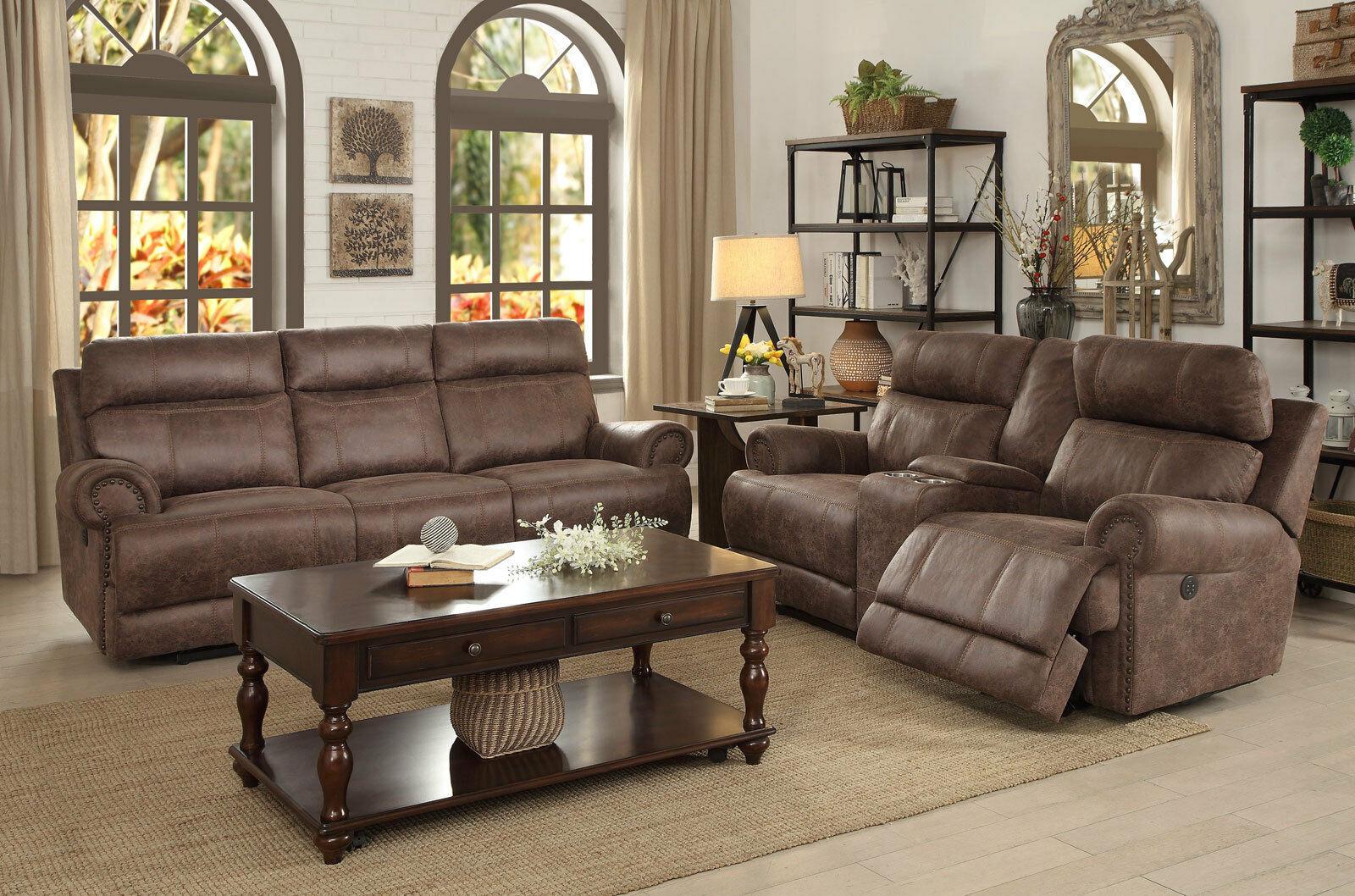 Brown microfiber fabric power reclining sofa loveseat - Fabric reclining living room sets ...