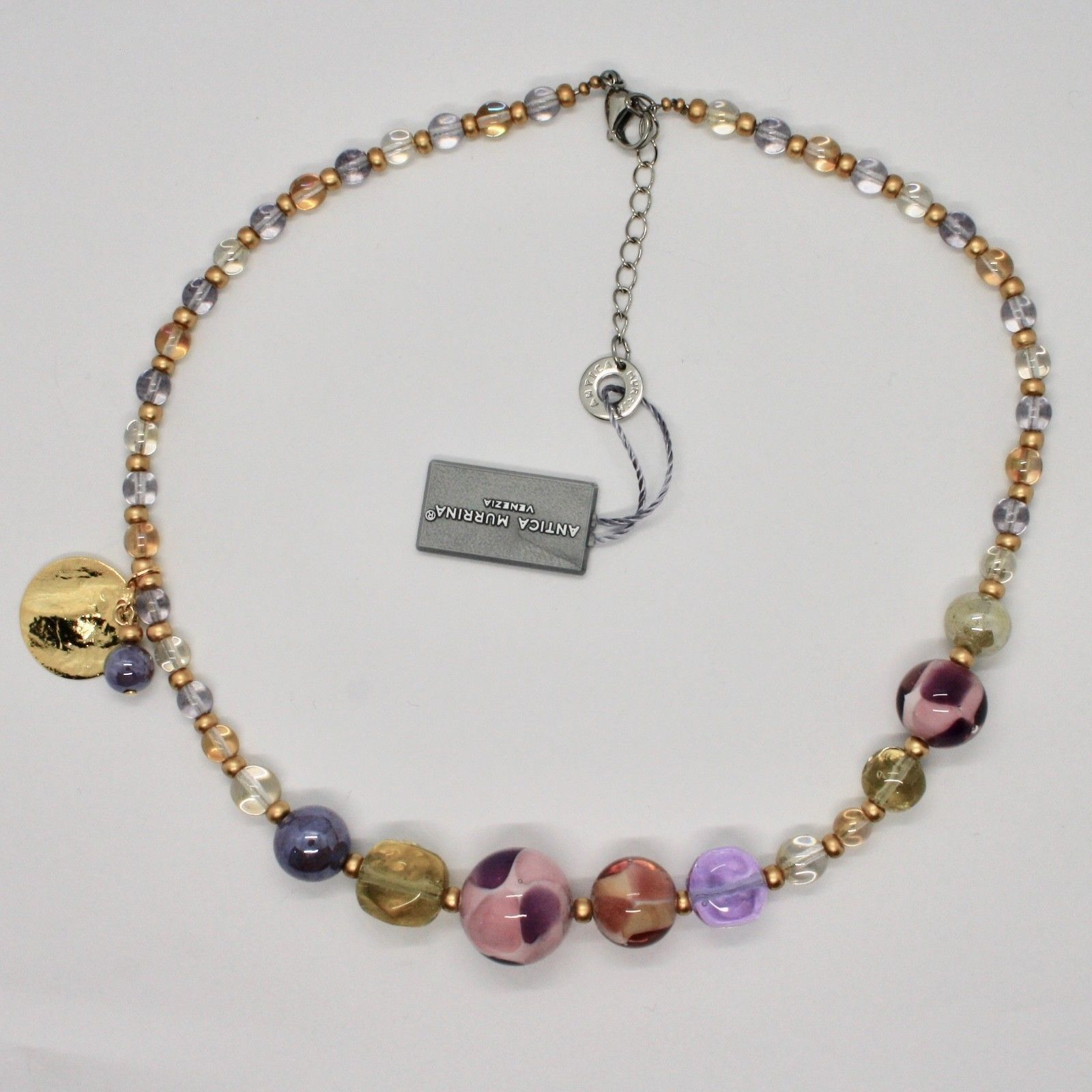 ANTICA MURRINA VENEZIA NECKLACE WITH MURANO GLASS GOLD BEIGE VIOLET COA84A07