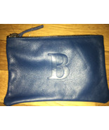 "Soleil Designs Leather Zip Blue Cosmetic Pouch with Letter ""B"" (NEW) - $28.00"