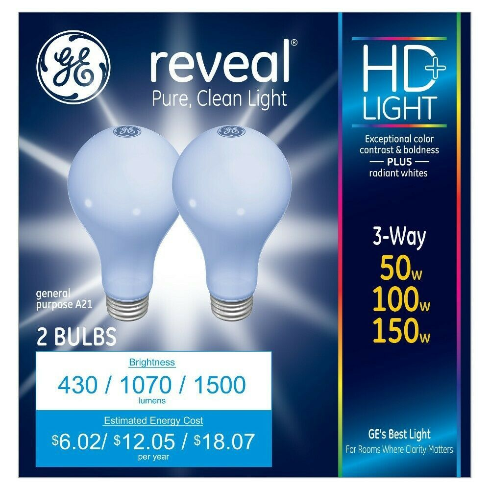 Brand New GE Reveal HD 3-way 50W/100W/150W A21 2-Pack Pure Clean Light Bulbs