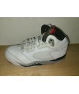 Nike Jordan 5 Retro PS Kids Shoe Size:12 C White/Grey/Red 440889-104   - $49.49
