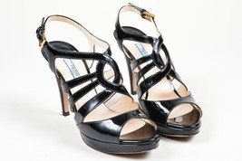 Prada  Black Patent Leather Strappy Cage Platform High Heel Sandals SZ 38.5 - $205.00