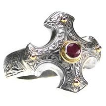 Gerochristo 2714 - Gold, Silver & Ruby - Medieval-Byzantine Cross Ring ... - $280.00