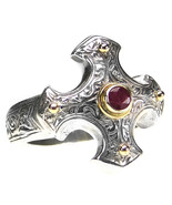 Gerochristo 2714 - Gold, Silver & Ruby - Medieval-Byzantine Cross Ring ... - $280.00