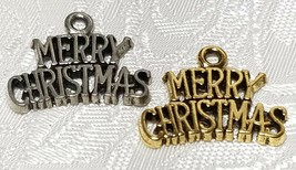 MERRY CHRISTMAS FINE PEWTER PENDANT CHARM - 21.5mm L x 17.5mm W x 1.5mm D