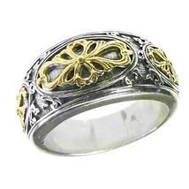 Gerochristo 2729 -  Gold & Silver Medieval-Byzantine Ornate Band Ring  / size 7 - $340.00