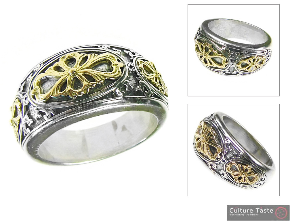 Gerochristo 2729 -  Gold & Silver Medieval-Byzantine Ornate Band Ring  / size 7