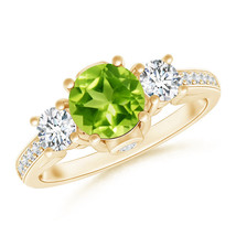 1.4ct Classic Prong Set Round Natural Peridot and Diamond Three Stone Ring - $1,639.64+