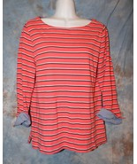 Womens Coral Striped Nautica 3/4 Sleeve Shirt Size Large excellent - $7.91
