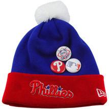 New NWT Philadelphia Phillies New Era Royal Button Up Cuffed Knit Beanie... - $17.77