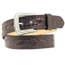 Nocona Leather Belt Western Mens Genuine Floral Embossed Black U-6801 - $37.95