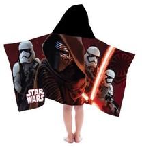 DISNEY STAR WARS Kylo Ren Storm Troopers HOODED TOWEL 22x51 Cotton NEW - $28.04