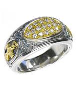 Gerochristo 2620 - Gold, Silver & Diamonds Medieval-Byzantine Cross Ring... - $950.00