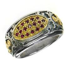 Gerochristo 2660 - Gold, Silver & Rubies Medieval-Byzantine Cross Ring / size 7 - $755.00